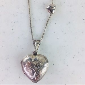Vintage Sterling Silver Puffy Heart Etched Locket